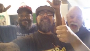 The production team goofing around. Exec Dir Tony Gonzales. Production team Greg Thomas and Ken Hagen