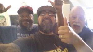 The production team goofing around. Exec Dir Tony Gonzales. Production team Greg Thomas and Ken Hagen